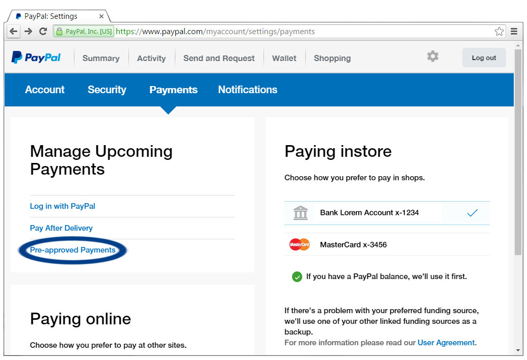 Click on the Pre-approved Payments option